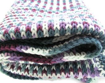 Cotton Baby Blanket -- Boy Maroon White Purple Green