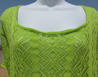 Diamond Lace Tee - Spring Gardens Line - Lime Green Women's Extra Large Plus Size Short Sleeve