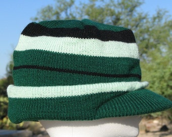 Knit Cap Toque Beanie Hat with Visor Green Adult Teen