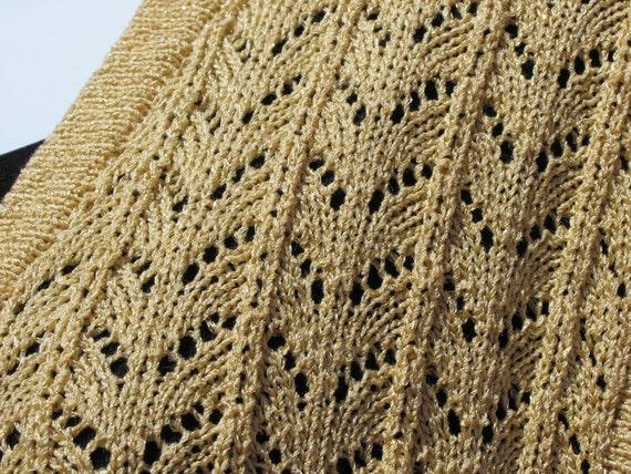 Vest Women's Knit Gold Sparkle Lace Small
