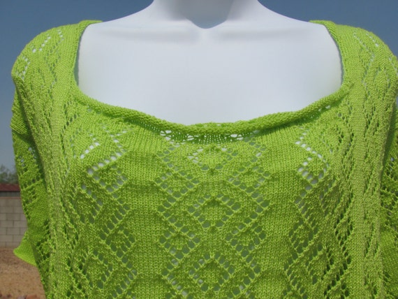 Diamond Lace Knit Blouse Lime Green Women's Extra Large Plus Size Short Sleeve
