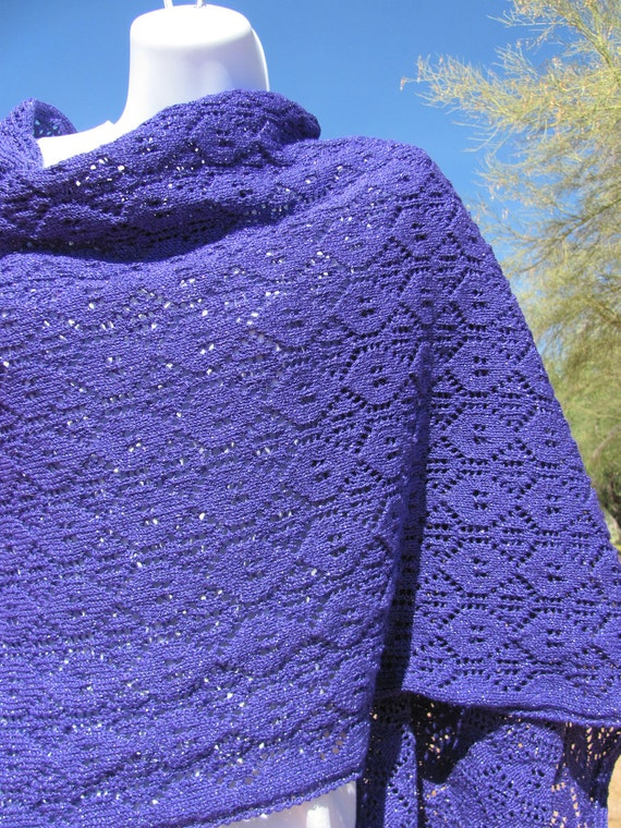 Button Lace Shawl Wrap Stole Purple with Metal Flakes Extra Long - Spring Gardens Line