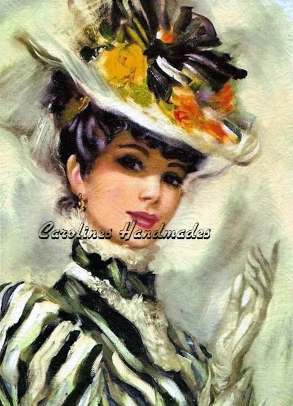 """Big Hat Lady Reproduction Cotton Fabric Art Print 5X7"""" Inches NEW Applique"""