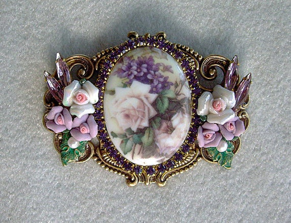 Victorian Rose Cameo Pin Brooch/Pendant NEW OOAK Signed Caroline Erbsland