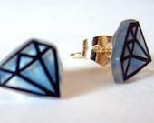 Traditional BLUE Diamond Stud Earrings