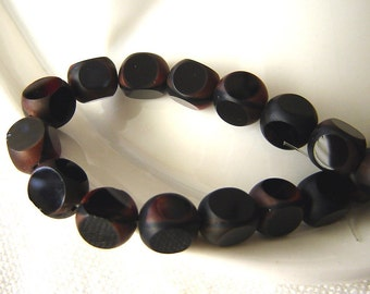 SALE - Black and rusty coral colored vintage molded glass beads