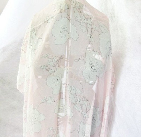 SALE - Gorgeous pale pink and white stylized line drawing floral silk chiffon