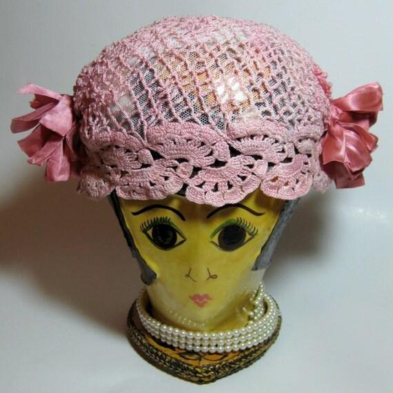 Vintage Pink Crocheted Hat