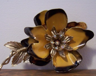 Black and Gold Flower Pin with Rhinestone Center