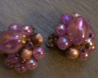 Pretty Pink Iridescent Clip Earrings