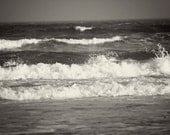 Black and White Photography monochromatic Summer ocean nature waves water nautical women for her men dude black white grey gray - Fine Art