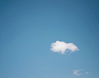 Cloud photograph, minimal art, minimalist, nature, blue sky, white cloud, soft, puffy, home decor - Fine Art Photography