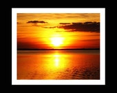 Colorful Orange Art Print Sunset Yellow Red Water Evening Sky Photography