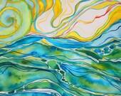 Sunrise Seascape Original Watercolor Painting