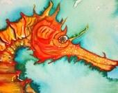 Golden Seahorse Original Watercolor Painting