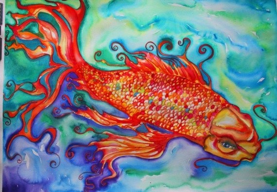 Golden ogon koi fish original watercolor painting for Original koi fish