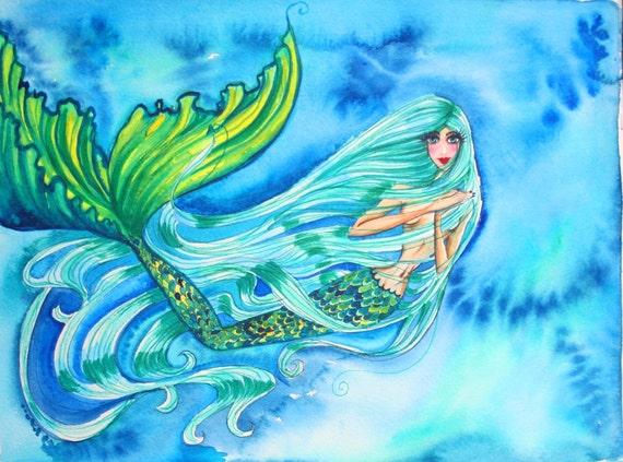Spearmint Tea Mermaid Original Watercolor Painting