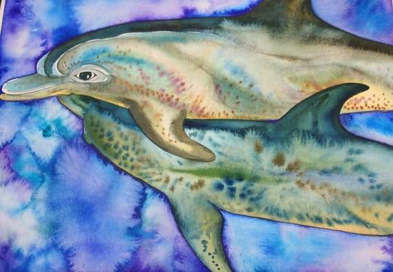 Spotted Dolphins Original Watercolor Painting