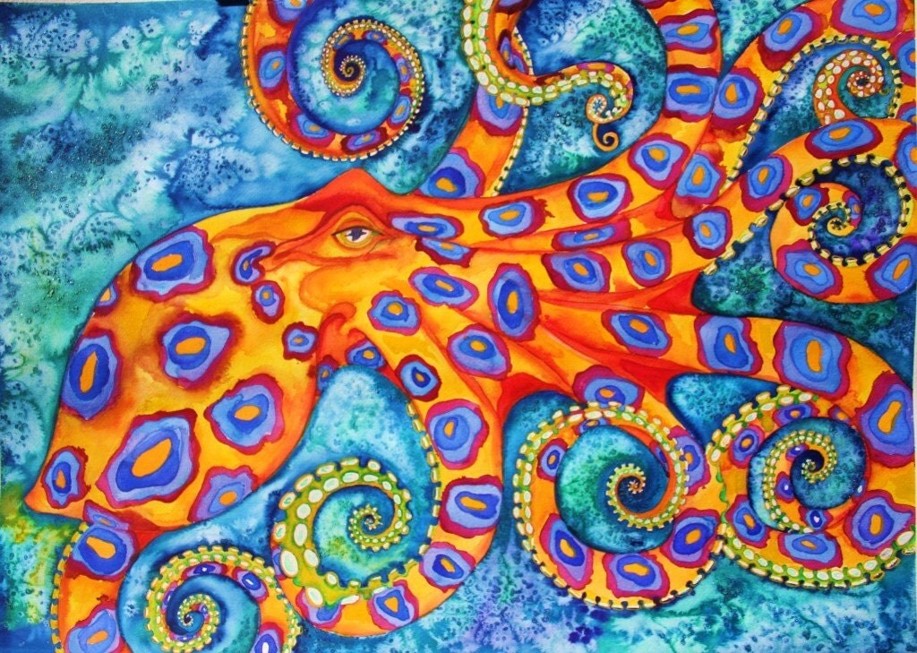 Blue Ringed Octopus Original Watercolor Paintng