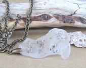 Crashing Waves White Fire Sea Glass Pendant