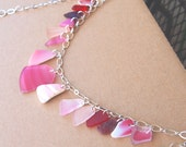 Rare Pink and Red Sea Glass Tiered Necklace