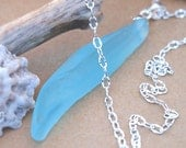Aqua Blue Sea Glass Icicle Necklace