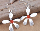 Beach Flower Earrings Sterling Silver and Genuine Carnelian Stone