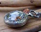 Sea Glass Pocket Watch Pendant 2 Sided Repousse Silver French 1890s Summer Dream
