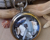 Sea Glass Pocket Watch Pendant Double Sided Display Antique Lost Treasure