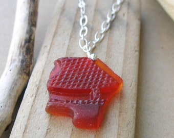 Ruby Red Sea Glass Necklace - Rare