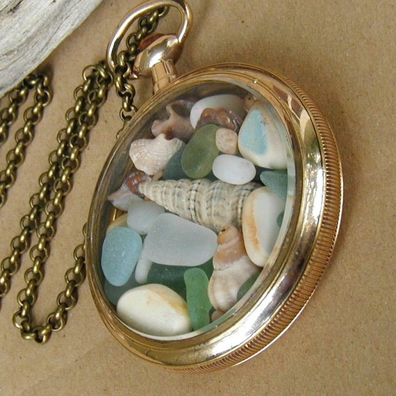 Beach Memories - Antique 14k Gold Filled Pocket Watch Locket, Sea Glass Seashell Necklace