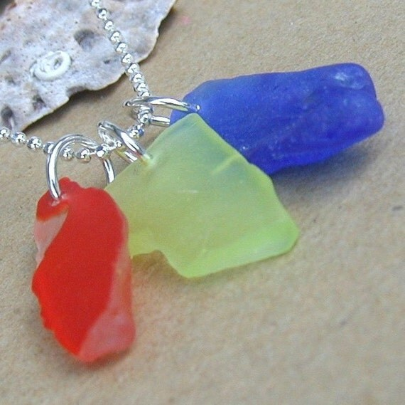 Beach Party Red, Yellow and Blue Sea Glass Necklace