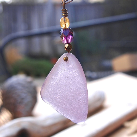 Deep Lavender Sea Glass Necklace