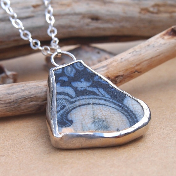 Vintage Collection Blue Willow Sea Pottery Necklace