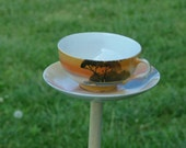 Upcycled Sunset Landscape Tea Cup Bird Feeder