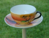 Upcycled Sunset Bird Tea Cup Bird Feeder