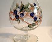 Hand Painted Brandy Snifter - Blueberry Tea