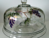 Hand Painted Cup Cake Cover / Stand Dishwasher Safe Purple Grapes Reversible