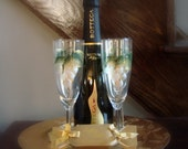 Bridal Champagne Flute White and Gold Grapes Hand Painted Dishwasher Safe
