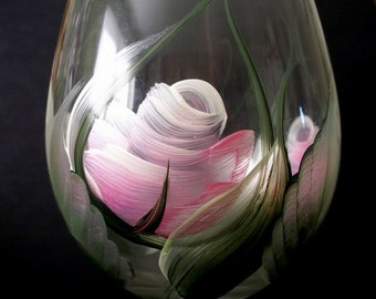Hand Painted Pink Roses White Wine Glass - Dishwasher Safe
