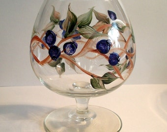 Hand Painted Brandy Snifter - Blueberry Tea