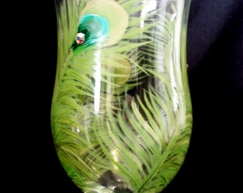 Peacock Wine  Glass -  Turquoise Green Peacock Feathers and Swarovski Crystals