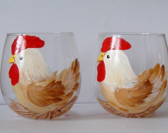 Chicken Wine Glass, Stemless Hand Painted and Dishwasher Safe  - Perfect Gift