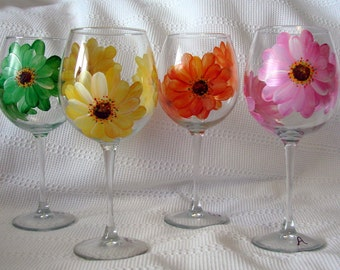 Orange Pink Yellow Gerber Daisies Wine Glass Large Handpainted  Dishwasher Safe