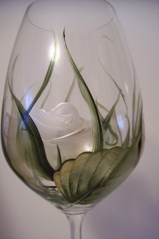 Handpainted white roses wine glass extra large dishwasher safe for Large white wine glasses