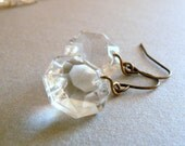 Chandelier prism clear crystal earrings. Bridesmaid earrings. Wedding jewelry. Party. Geometric, casual chic. Something old.