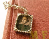 Shakespeare Bookmark. Father's Day, school, men gift. Reader. Silver Beaded and Illustrated with Black Diamond Czech Glass Beads.