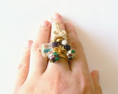 Gold cocktail ring. Grecian jewelry. Wedding, party, Greek goddess. Adjustable. Dangle cha cha ring. Amethyst Diana.