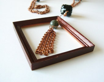 Art deco flapper necklace. Bohemian, gypsy, tassel, long. Green, black and copper brown. Statement, roaring 20s. Real dollhouse miniature.