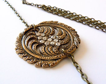 Art Nouveau, Long Chain Necklace with Recycled Part, Antique Brass and White Rhinestones
